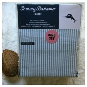 TOMMY BAHAMA Beach House Striped KING Sheet Set
